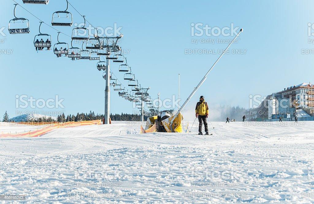 Ski slope for beginners. The ski school stock photo
