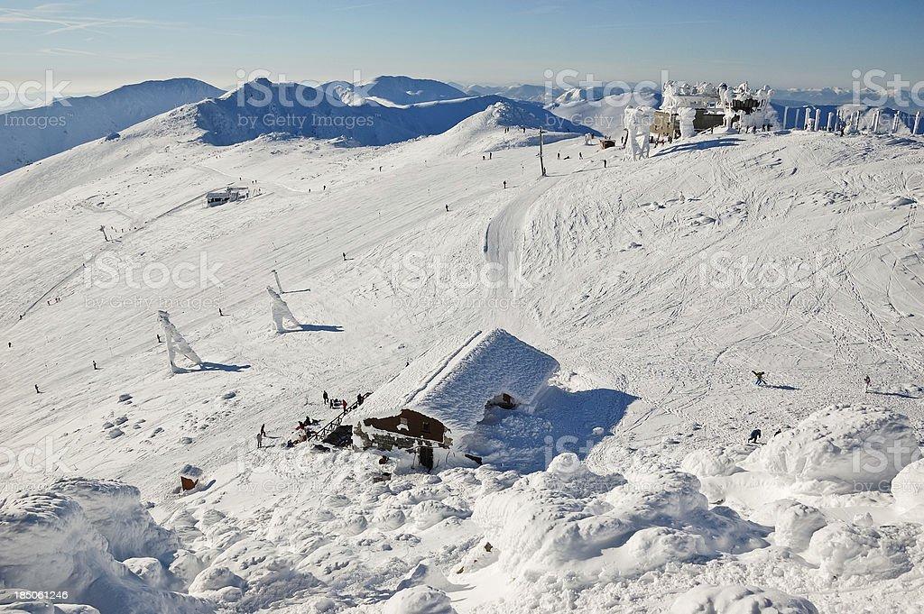 Ski slope from mountain top stock photo