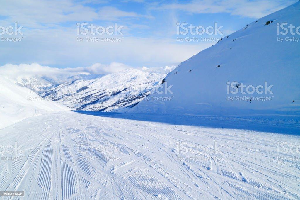Ski slope in 3 Valleys winter resort stock photo