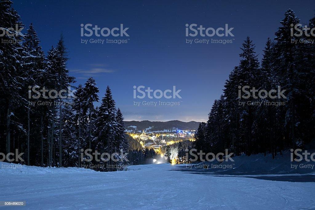 Ski slope in Poiana Brasov stock photo