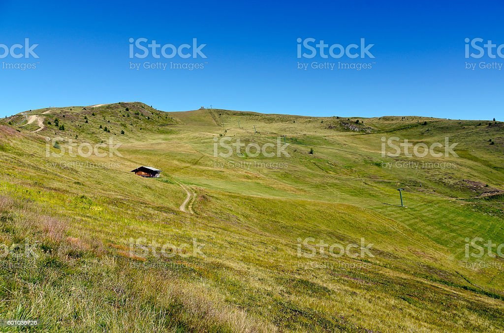 ski slope in summer with drag lift stock photo