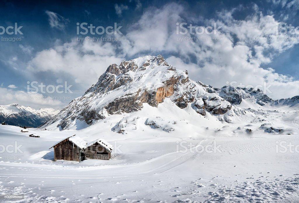 Ski slope in Val di Fassa, Dolomiti, Alpes, Italy stock photo