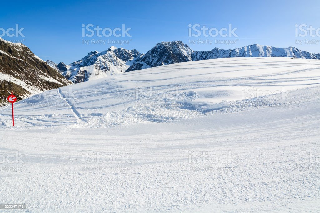Ski slope in winter resort of Riffelsee in Pitztal valley, Austrian Alps stock photo