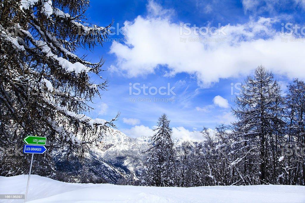 ski slope signs in Alps royalty-free stock photo