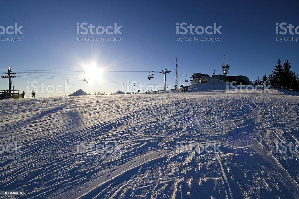 Ski Slope Sunset royalty-free stock photo