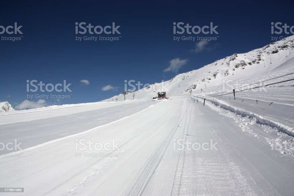 Ski slope with rope Lifts royalty-free stock photo