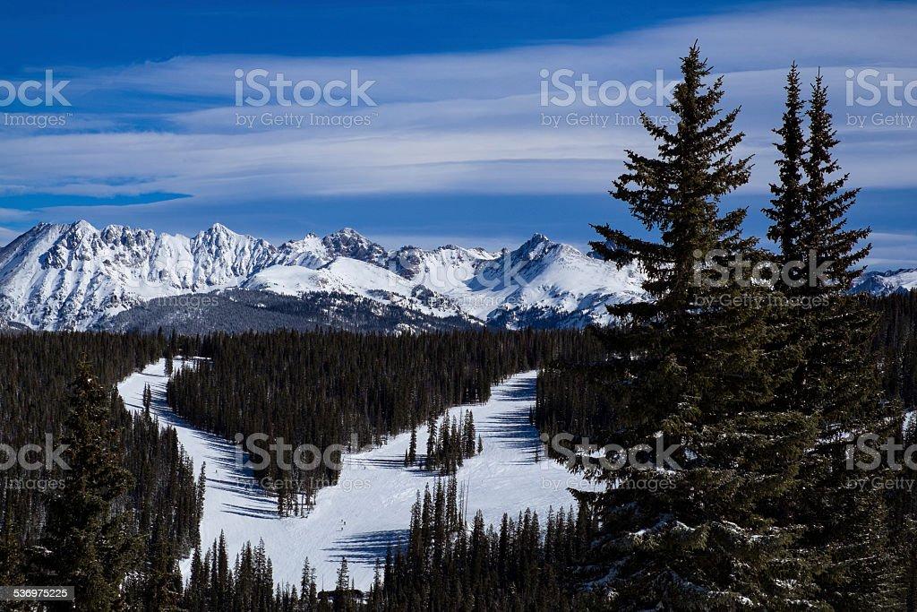 Ski Slopes and Gore Range Vail Colorado stock photo