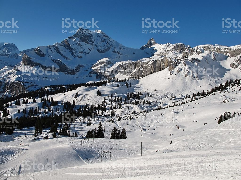Ski slopes and mountains in Braunwald stock photo