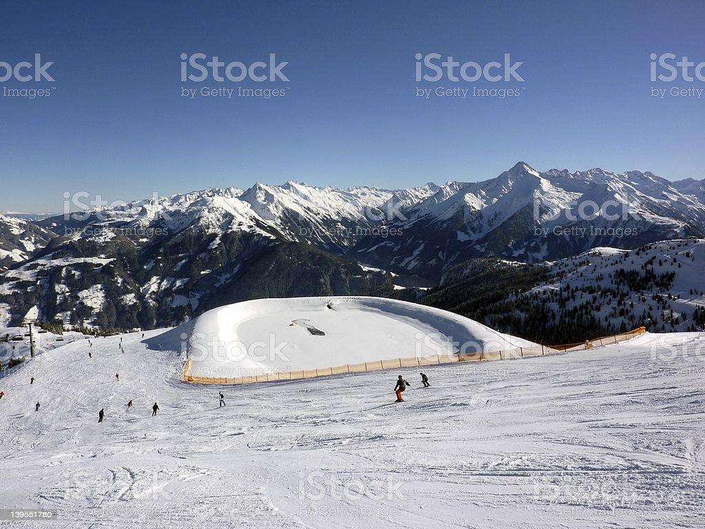 Ski slopes and water storage stock photo