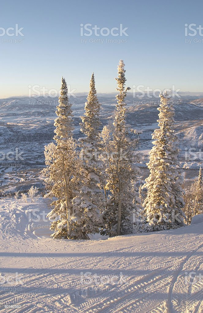 Ski slopes at winter stock photo