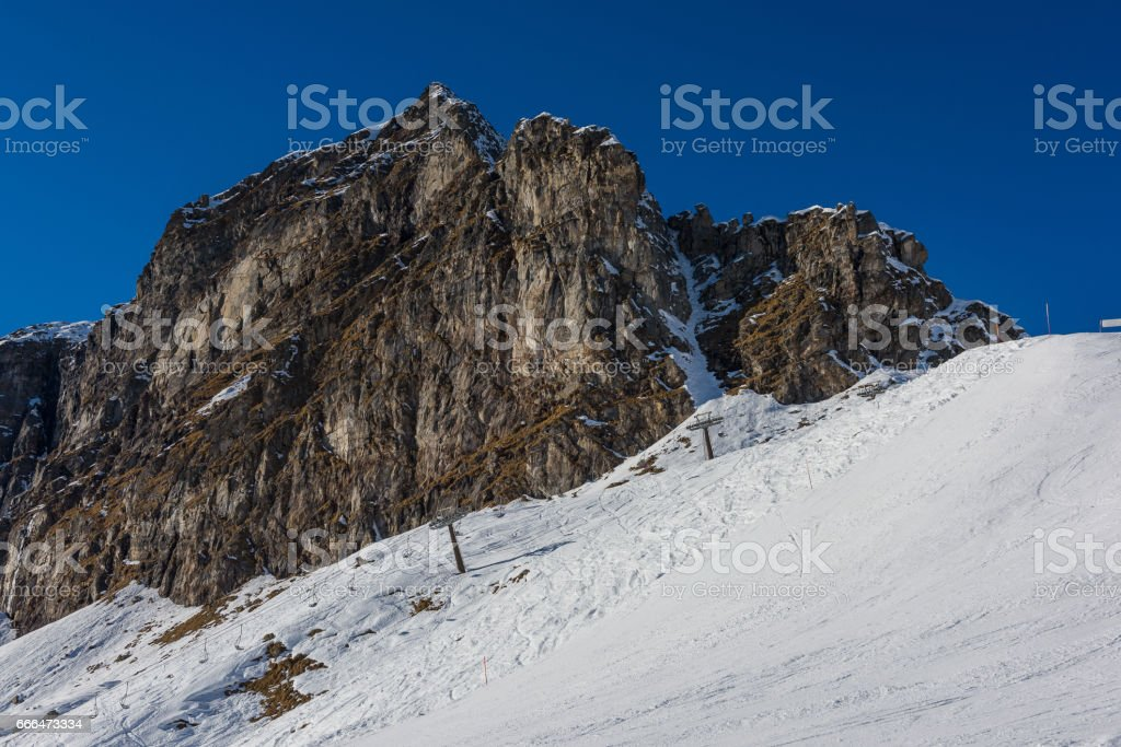 Ski slopes in Alagna stock photo