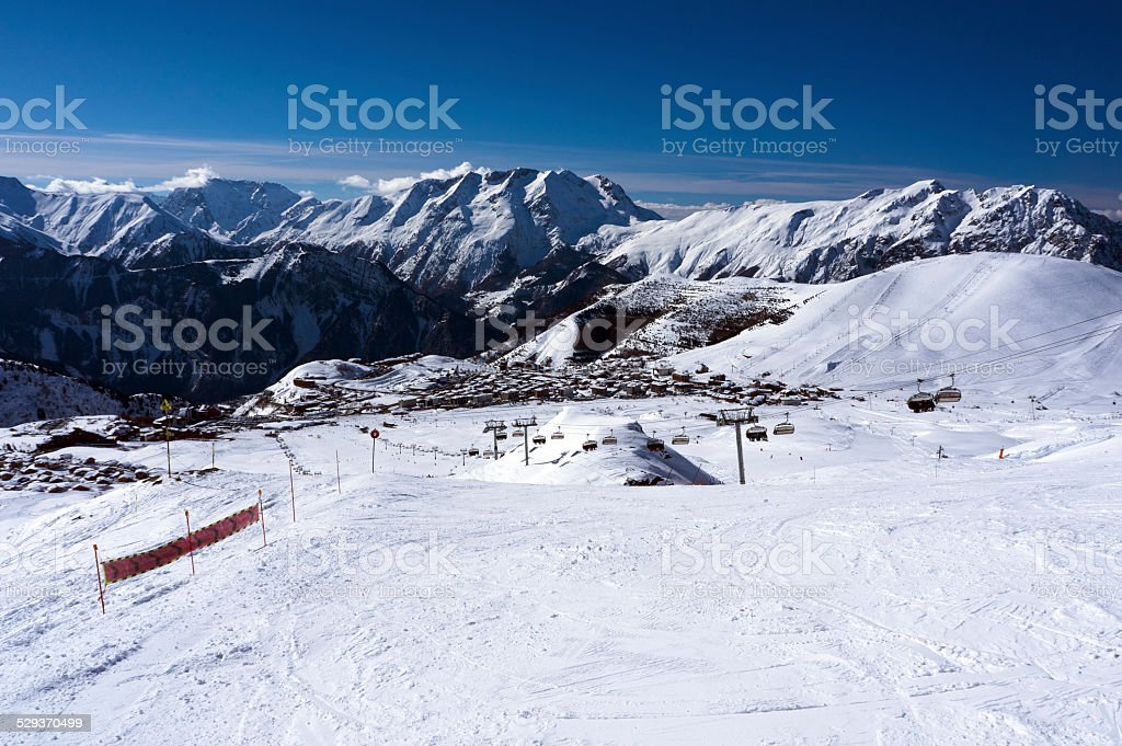 Ski Slopes in Alpe d'Huez stock photo