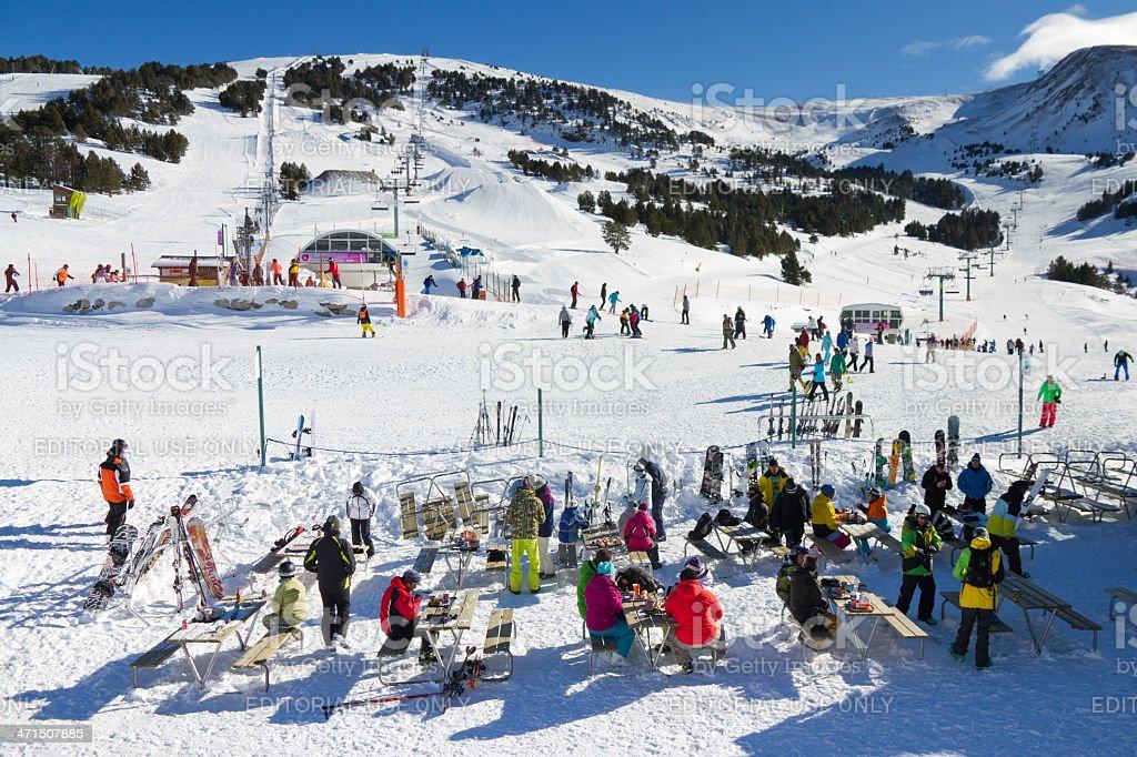 Ski slopes in El Tarter royalty-free stock photo