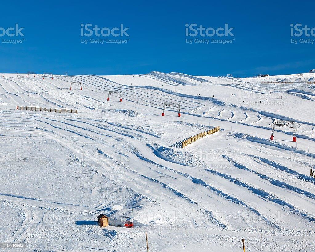 Ski slopes in French Alps royalty-free stock photo