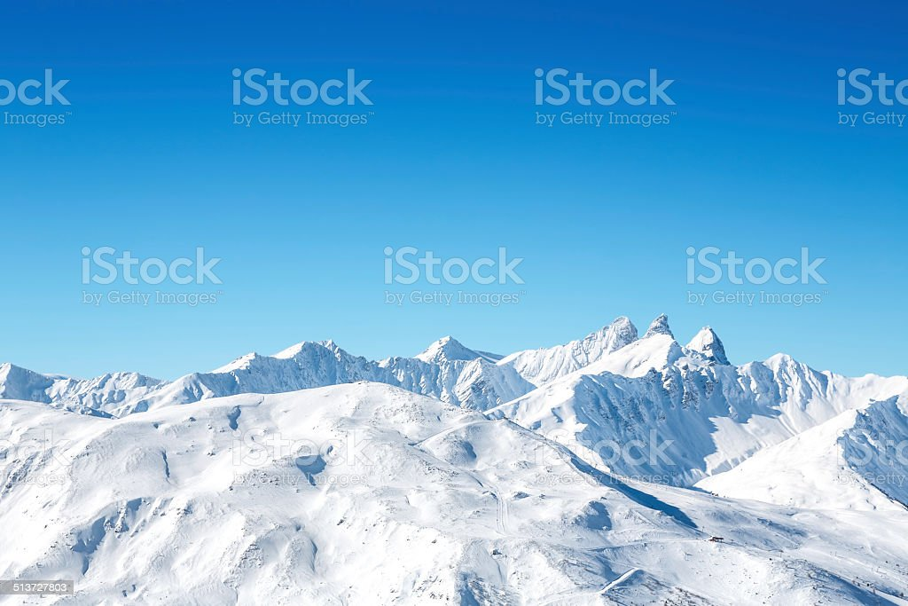 Ski Slopes In French Mountains stock photo