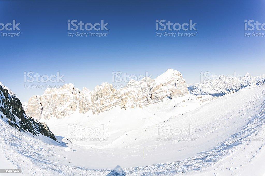 Ski Slopes in the Italian Alps stock photo