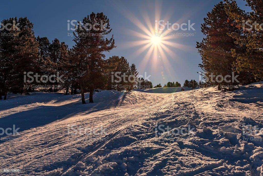 ski slopes mountain winter sun stock photo