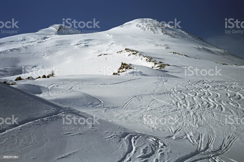 Ski slopes of Mt. Elbrus 5642m the highest mountain of Europe. stock photo