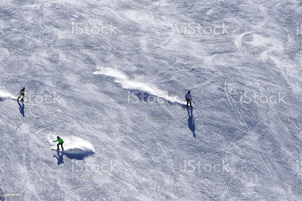 Ski slopes with skiers in Bansko, Bulgaria stock photo