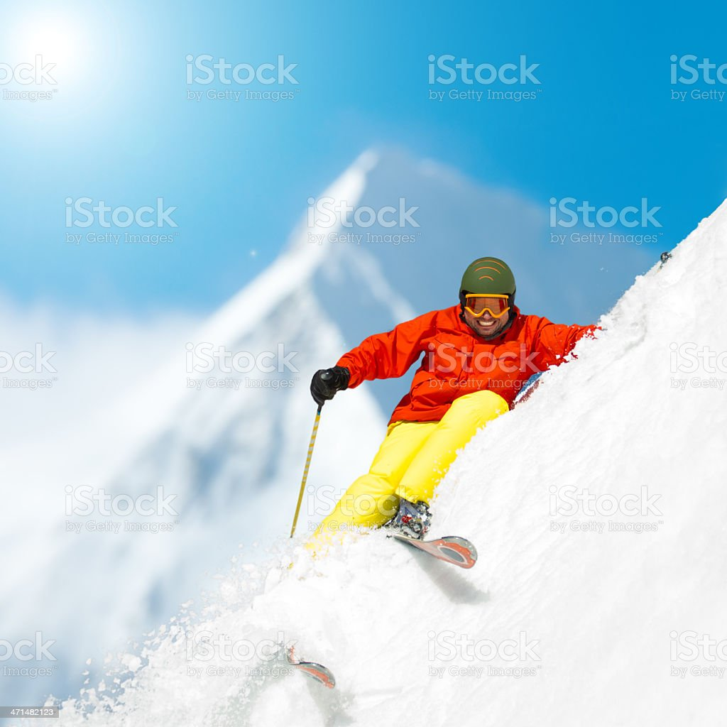 Ski, snow, sun and winter fun royalty-free stock photo