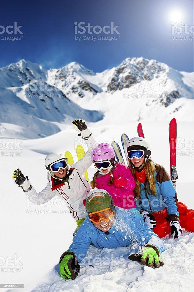 Ski, snow, sun and winter fun stock photo
