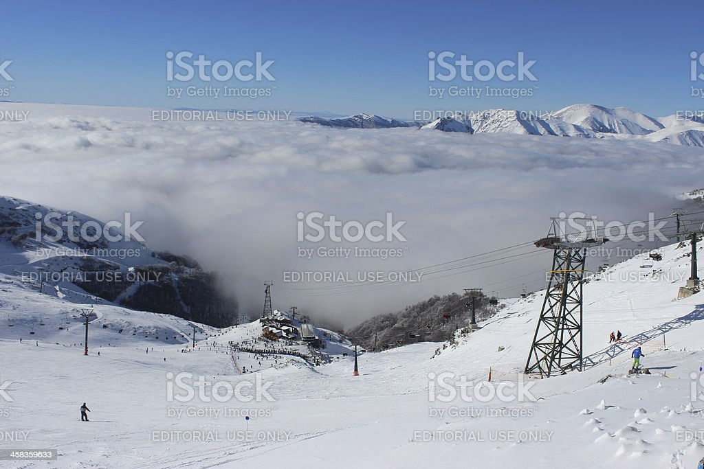 CERRO CATEDRAL ski station - above the clouds stock photo