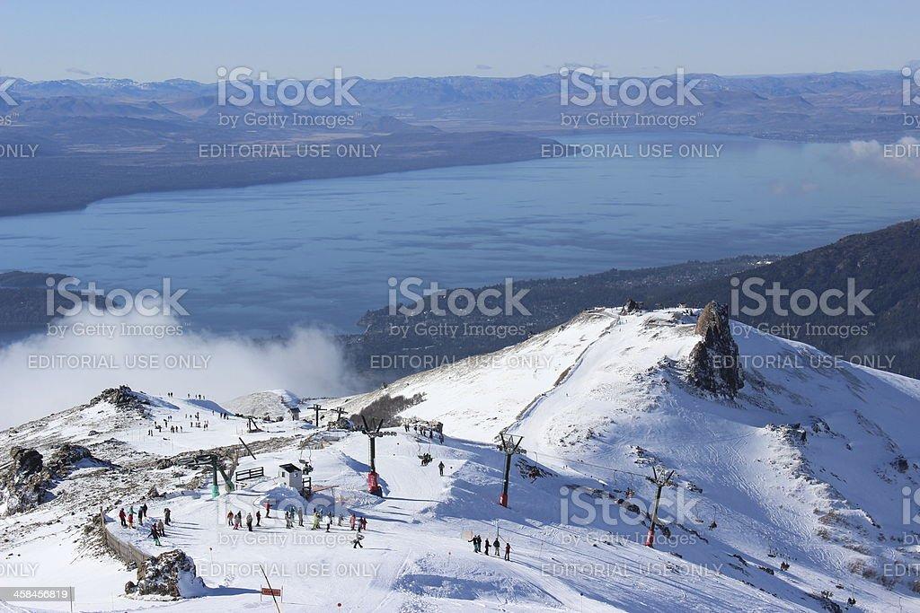 CERRO CATEDRAL ski station and Gutierrez lake - Patagonia stock photo