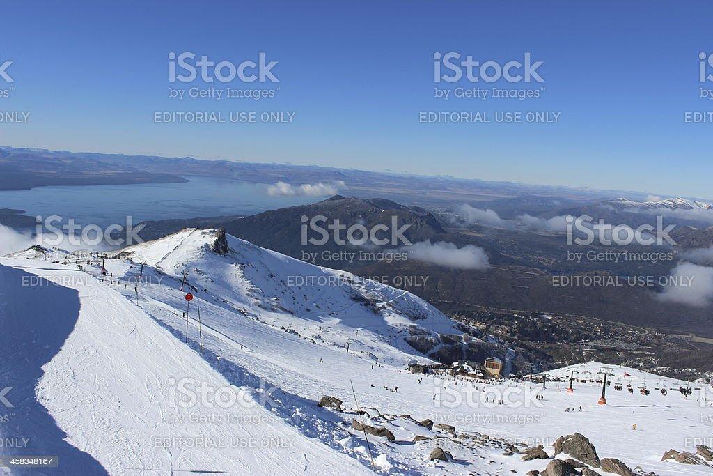 Ski station at Andes mountains and Gutierrez lake - Patagonia stock photo