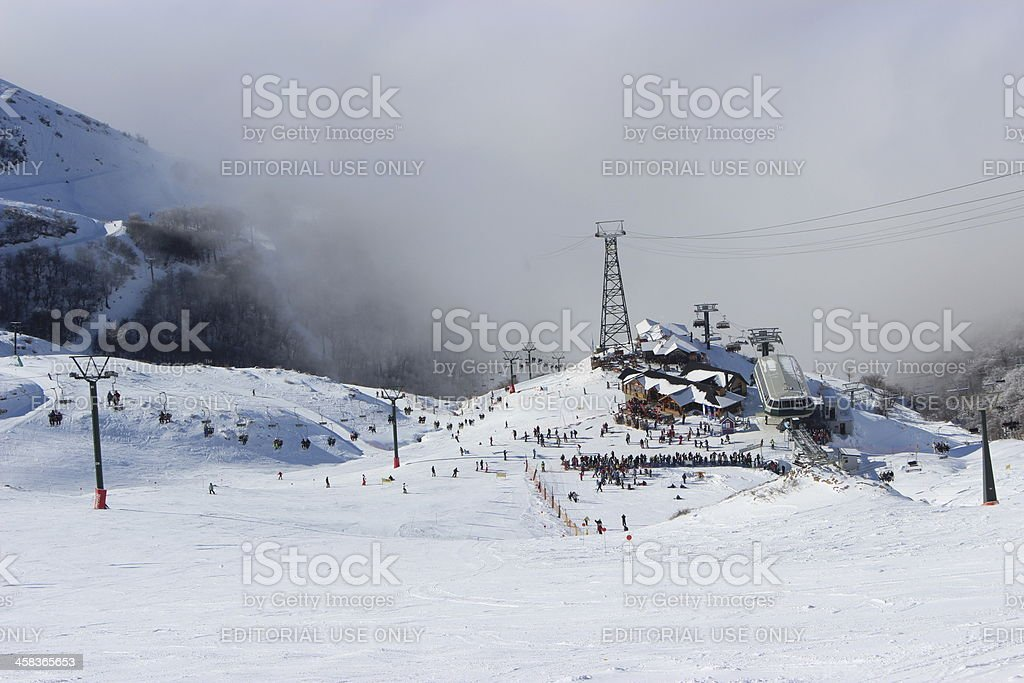 Ski station at CERRO CATEDRAL above the clouds (Horizontal composition) stock photo