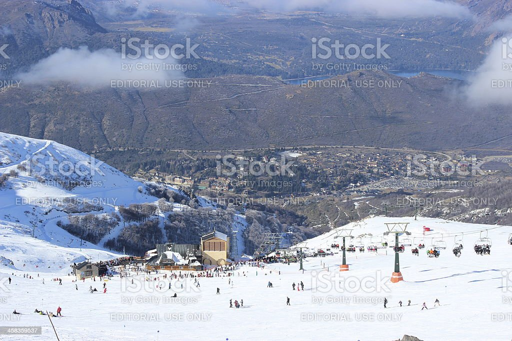 Ski station at CERRO CATEDRAL - aerial view stock photo