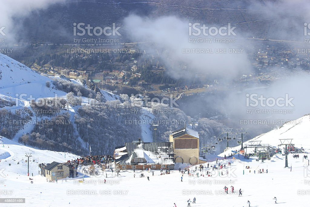 Ski station at CERRO CATEDRAL in the clouds stock photo