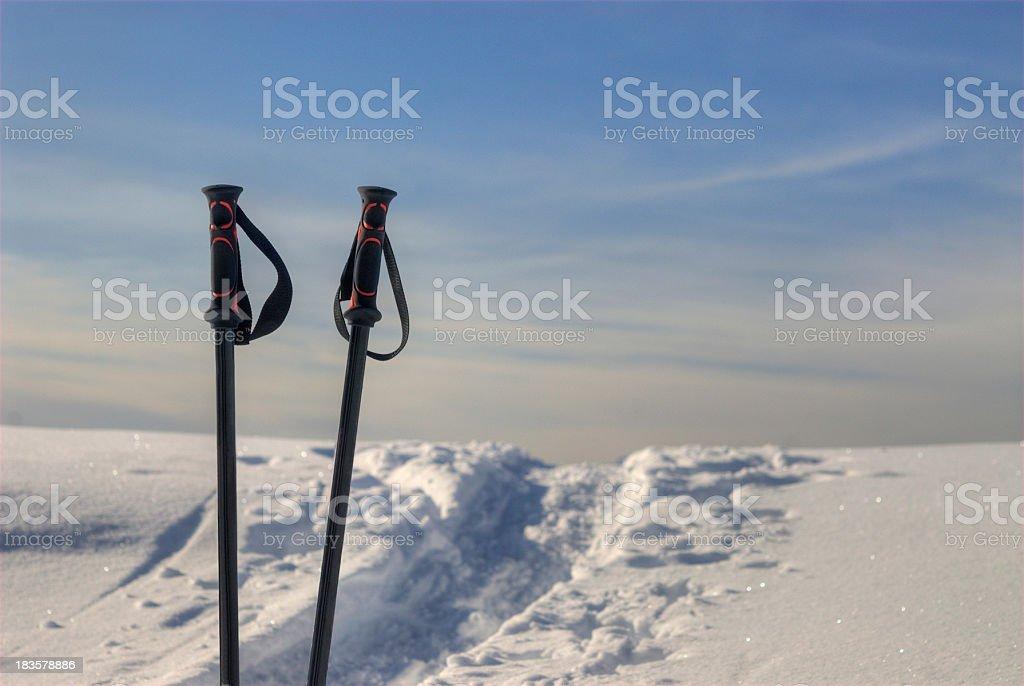 Ski Stick next track in the snow royalty-free stock photo