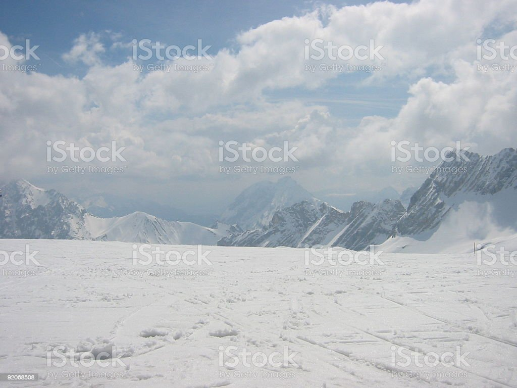 Ski the Zugspitze mountain in Germany royalty-free stock photo