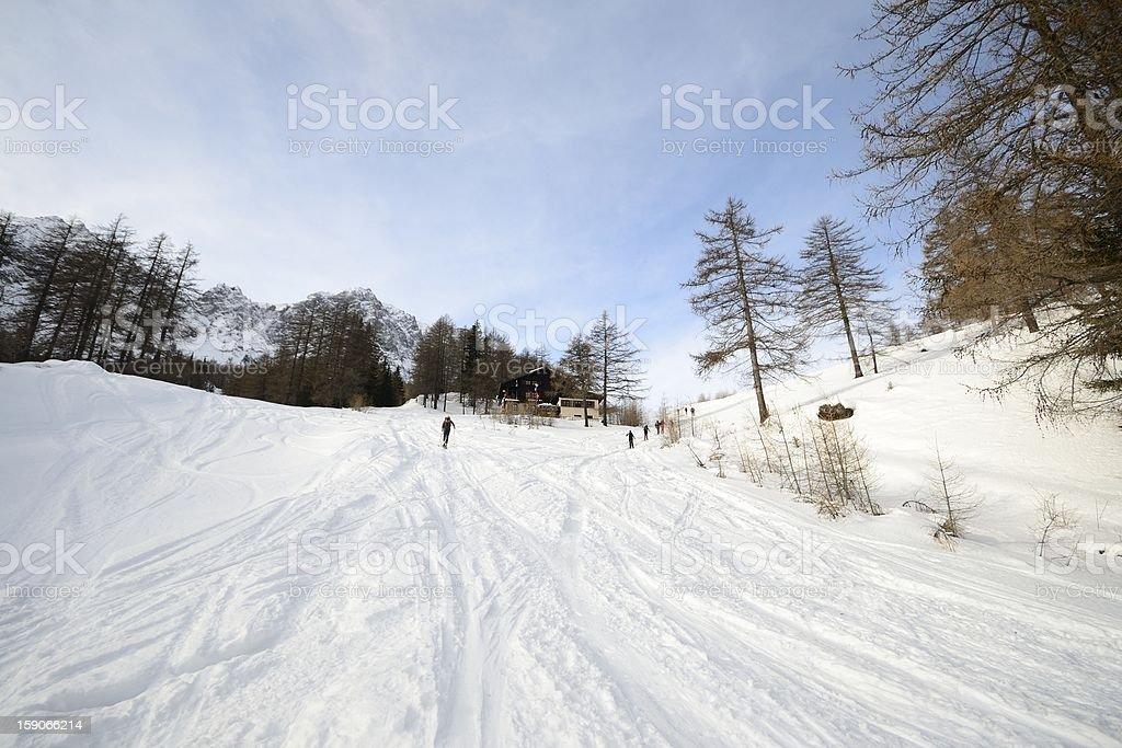 Ski tour slope near alpine hut stock photo