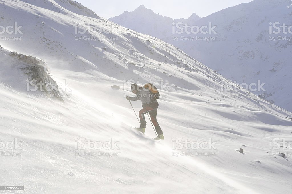 Ski tour uphill stock photo