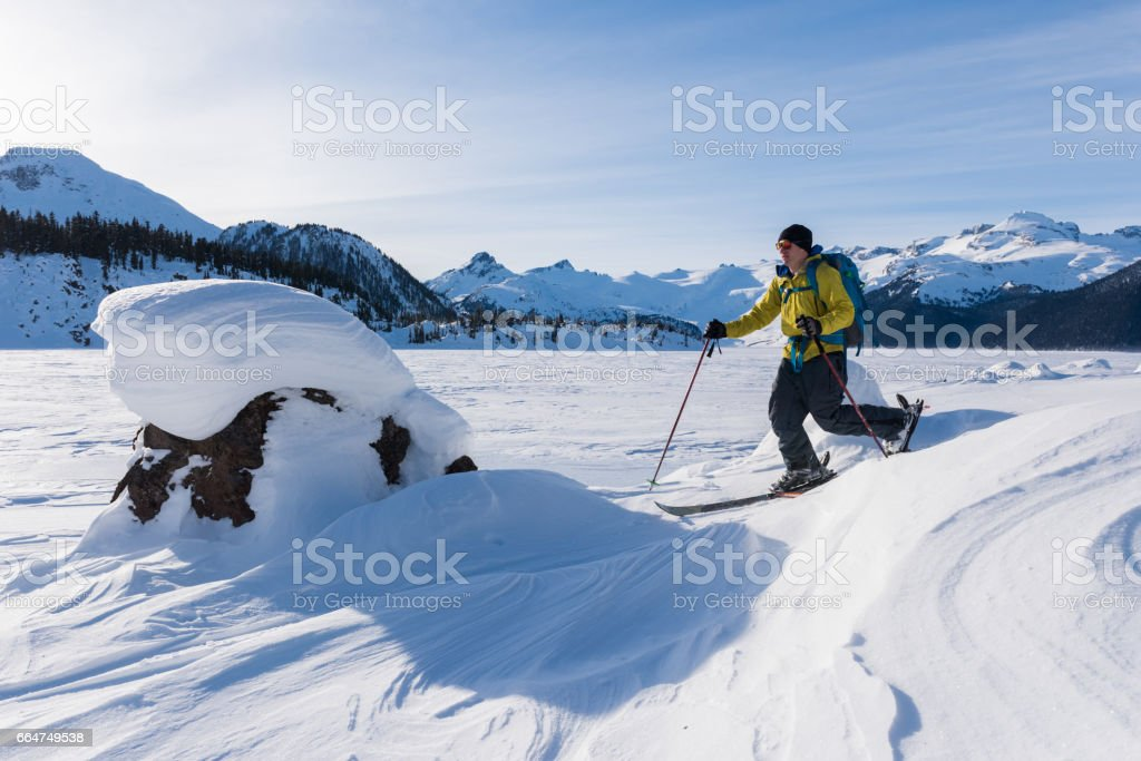 Ski touring in a winter wonderland stock photo