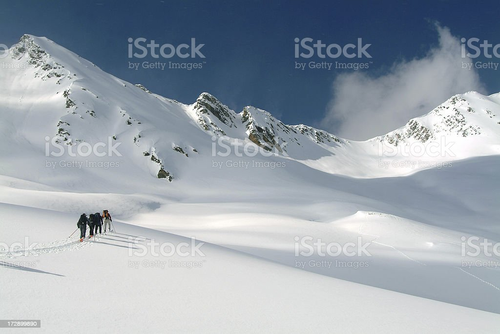 Ski Touring in Canadian Rockies stock photo