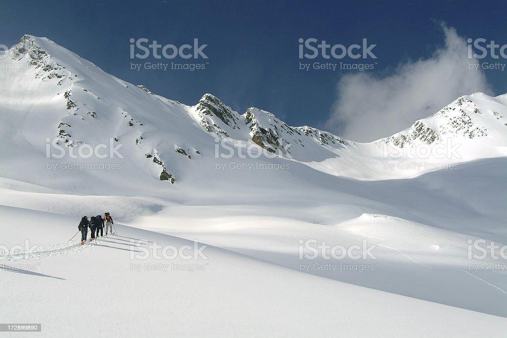 Ski Touring in Canadian Rockies stock photo
