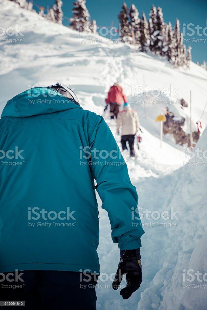 ski touring in kicking horse stock photo