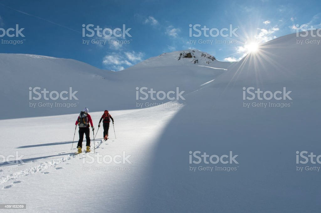 Ski touring in the eternal ice stock photo