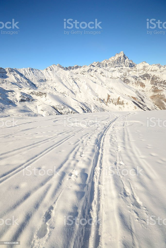 Ski touring in the italian Alps royalty-free stock photo