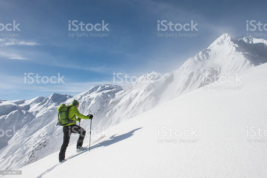 Ski touring stock photo