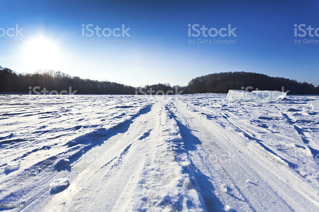 ski track at snow field in cold winter day royalty-free stock photo
