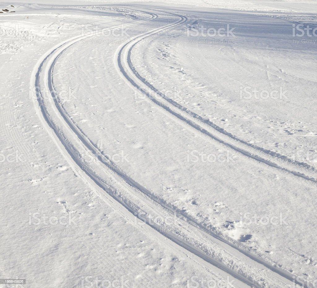 Ski track curve in Norway stock photo