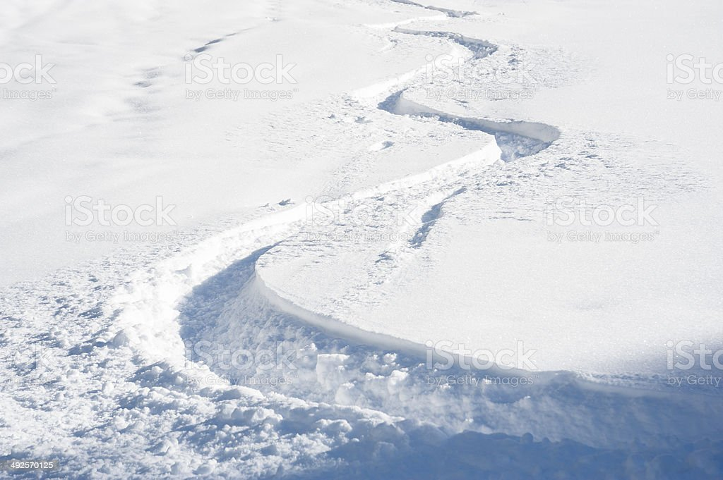 Ski track in fresh snow stock photo