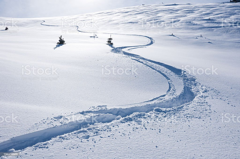 Ski Track on Mountain in Winter stock photo
