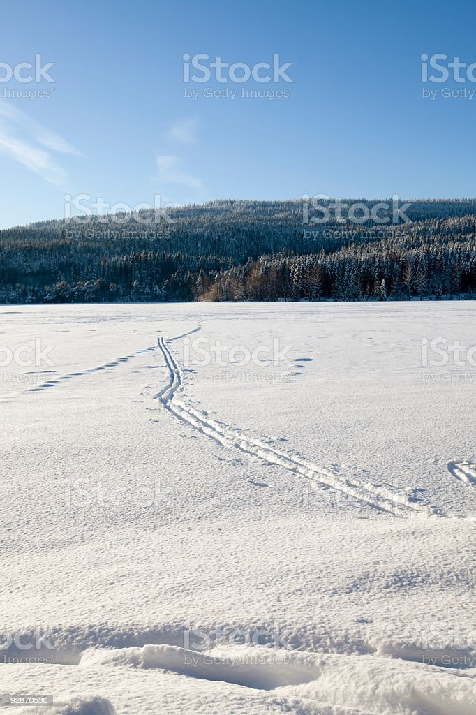 Ski tracks crossing a lake. royalty-free stock photo