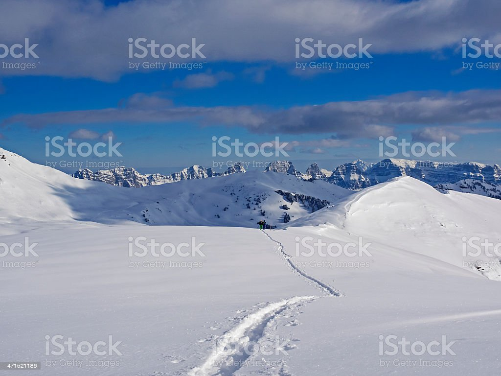 Ski tracks in a snowy swiss alpine landscape (Churfirsten) stock photo