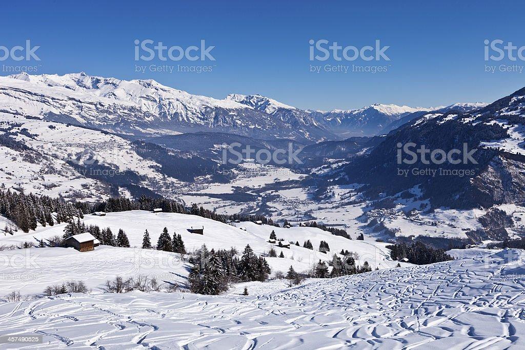 Ski Tracks in Obersaxen stock photo
