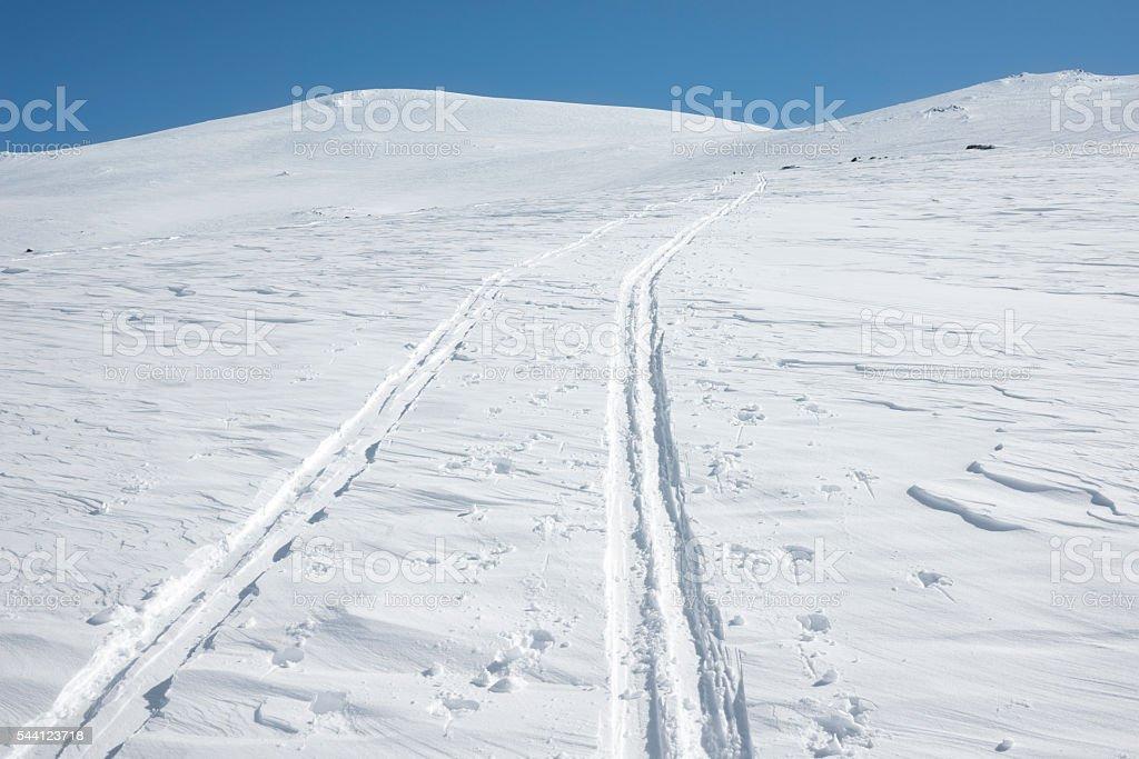 Ski tracks in the high mountains of Jotunheimen National Park stock photo